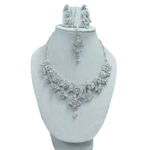 Stunning Silver Tone Stone Necklace Set Bridal Jewelry India Jewelry