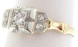 Vintage Estate Genuine Diamonds Solid 14k Gold Ring