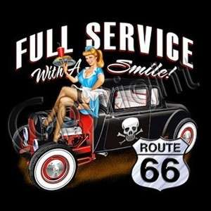 SERVICE DRIVE IN HOT ROD T SHIRT ROUTE 66 Vintage Car Skulls