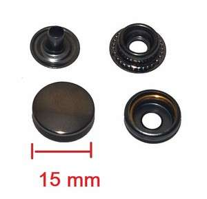 20 X METAL SNAP BUTTONS FASTENERS 15mm COLOR GUNMETAL