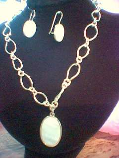 Mother Pearl MOP white shell pendant Necklace & Earrings Set