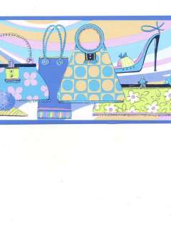PURSE / PURSES AND SHOES IN BLUES WALL BORDER GU79201