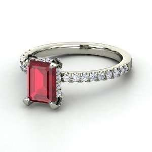 Reese Ring, Emerald Cut Ruby 14K White Gold Ring with