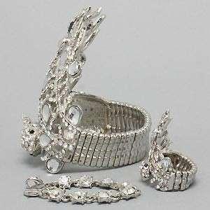 Peacock Rhinestone Crystal Slave Ring Bracelet Set GORGEOUS
