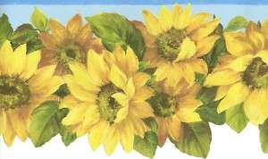 SUNFLOWERS Floral DIE CUT TEXTURED WALL PAPER BORDER