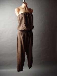 Brown Linen Cotton Blend Strapless Tube Top Lounge Pant Women Plus