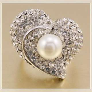 18K Gold GP Shining Swarovski Crystals Pearl Ring 2G037