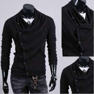 New Mens Black Slim Casual Sweaters Coat Cardigan Knitwear M L XL