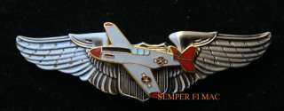 PILOT WING PIN US ARMY CORPS AIR FORCE P 51 MUSTANG RED TAILS