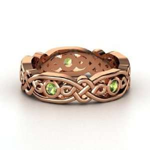 Brilliant Alhambra Band, 14K Rose Gold Ring with Green