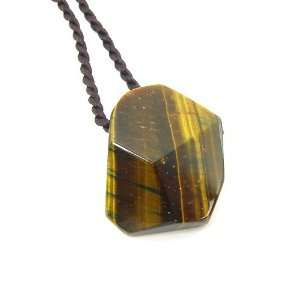 Eye Semi Precious Gemstone Faceted Pendant on Corded Necklace Jewelry