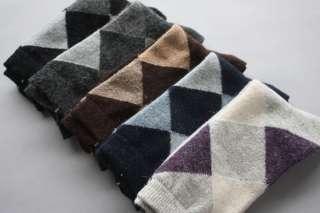 Pairs New Warm For Winter Wool Rabbit Sock Boy Men Sock Rhombus