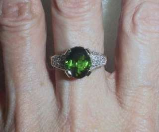14K YG ESTATE GREEN TOURMALINE DIAMOND RING   SIZE 6.5   LB1705