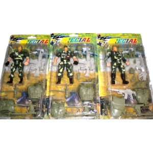 Lot 3 Set Special Force Army Men Action Figure Play Set: Toys & Games