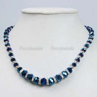 19L Dark Blue CRYSTAL GLASS Faceted Abacus Necklace