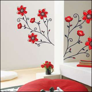 WS 18 RED FLOWER TREE ADHESIVE WALL DECOR ART STICKER