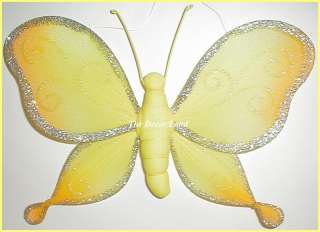 Yellow Sparkly BUTTERFLY Wall Hanging Nursery Decor