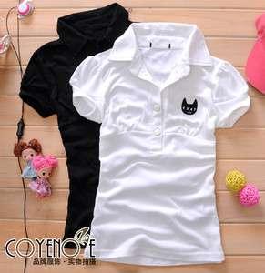 New Womens Cartoon Cat Lapel Polo Shirts Tops T shirts