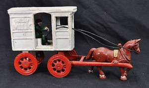 Vinage Cas Iron Fresh Milk Car w/ Horse & Driver oy |