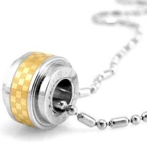 Checker Design Barrel Gold Tone Pendant Necklace 20 Dahlia Jewelry