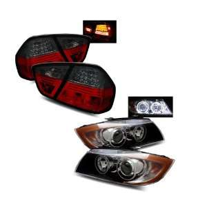 06 08 BMW E90 3 Series 4Dr Black CCFL Halo Projector Headlights + LED