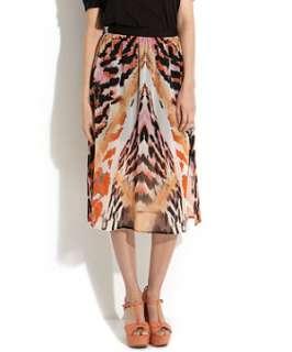 Orange/Yellow Pattern (Orange) Orange Mirrored Tiger Print Midi Skirt