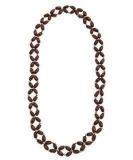 Brown Pattern (Brown) Wood and Gold Bead Hair Band  247217529  New