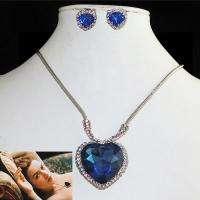 Titanic Heart of Ocean Necklace Set Swarovski Crystal Earring Pendant