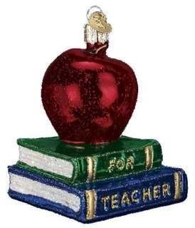 Teachers Red Apple Gift Books Blown Glass Christmas Ornament