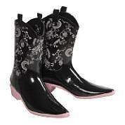Rubber Roper Western Barn Boot Black Pink Women 7 6 NIB