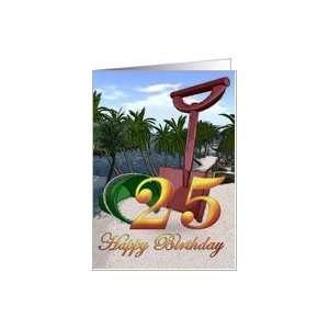 25th Birthday Summer beach bucket Happy Birthday Palm trees side beach