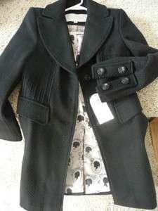 NWT jessica Simpson black textured wool blend embellished coat XS