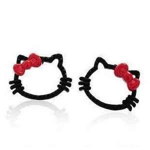 Hello Kitty Black and Red Bow Stud Fashion Earrings