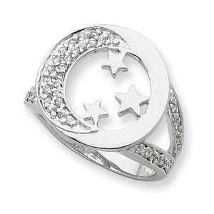 Sterling Silver & CZ I Promise You the Moon and Stars Ring Jewelry