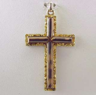 Antique 1920S Native Gold Natural Nugget Cross Pendant