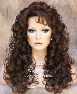 Full Long Curly Teased top Med. Brown WIG WIGS tr ca 8