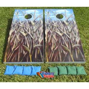 Corn Fields Cornhole Game Set   Custom Art by L. Lydecker