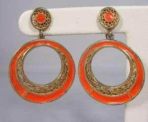 Vintage 60s VENDOME Gold Filigree Dangle Hoops w/ Neon Orange Enamel