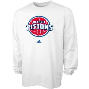 adidas Detroit Pistons White Prime Logo Long Sleeve T shirt