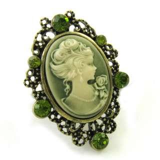 Big Dark Crystal Lime Green Cameo Ring Adjustable r127