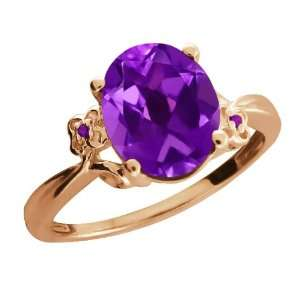 Ct Genuine Oval Purple Amethyst Gemstone 18k Rose Gold Ring Jewelry