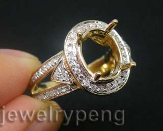 Oval Cut 10x8mm 14Kt Solid White Gold 0.55Ct Pave Diamond Engagement