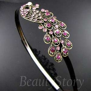 ADDL Item FREE SHIPPING antiqued rhinestone crystal peacock hair band