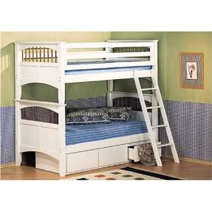Wood Bunk Bed with Soft White Finish and Under Bed Storage: Home