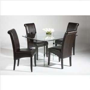 V Base 5 Piece Dining Table Set Color Black