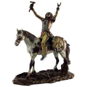 Cast Native American Indian Warrior Sculpture Statue Home & Kitchen