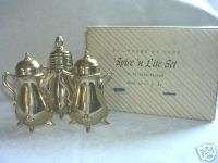 24 kt Gold Plated Spice N Lite Set S & P Shakers Plus