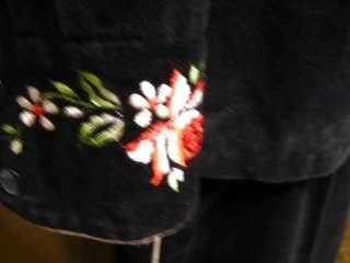 Embroidered Western Floral Velvet Pant Suit Vtg 1960s