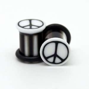 00G Pair of PEACE SIGN WHITE with BLACK UV Acrylic Plugs