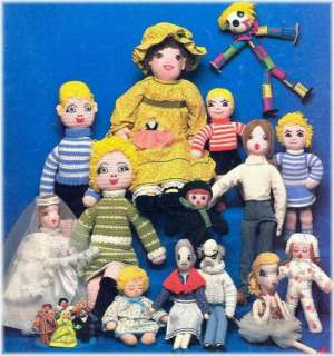 Vintage Stuffed Rag Dolls & Clothes Knitting Patterns